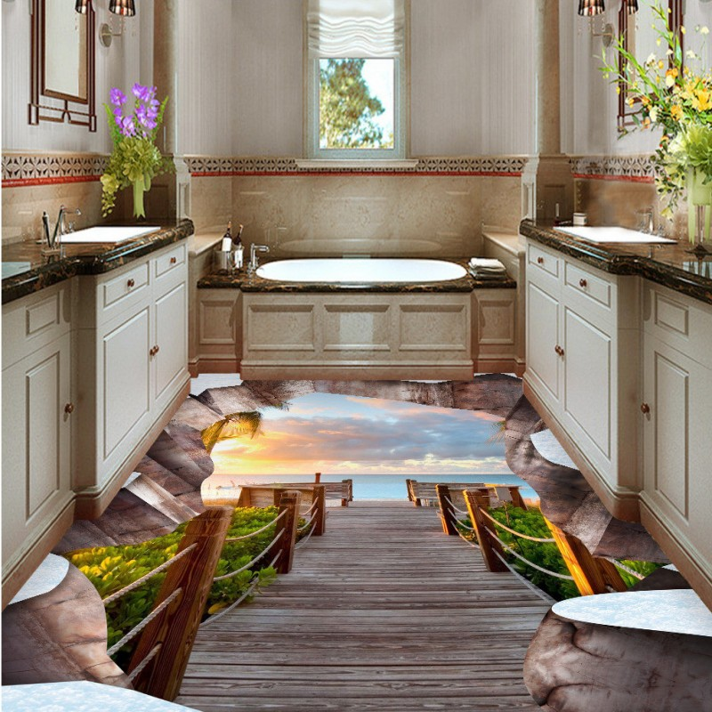Free Shipping Ground Fissure Landscape 3D Floor waterproof thickened home decoration flooring bathroom bedroom wallpaper mural free shipping marble texture parquet flooring 3d floor home decoration self adhesive mural baby room bedroom wallpaper mural