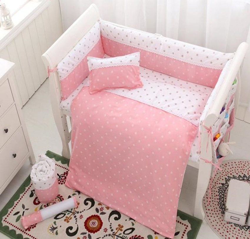 Baby Bed Set Pink Princess Wave Point Baby Bumper Bed Around Cotton Lace  Cot Sheet Pillow Case Baby Bedding Newborn For Girls pink point