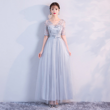 grey colour Dress Bridesmaid  Long Dress for Wedding Party for Woman Dress Elegant 2019  Empire