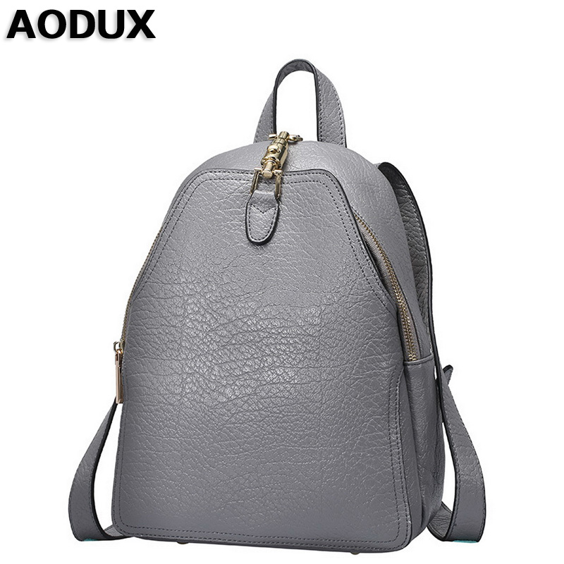 AODUX 2018 Designer Fashion Teenagers Girls Genuine Leather Women's Backpack Ladies Cow Leather Shoulder Backpacks School Bags evispo fashion designer cow genuine leather women backpack drawstring school bags for teenagers girls female travel back pack