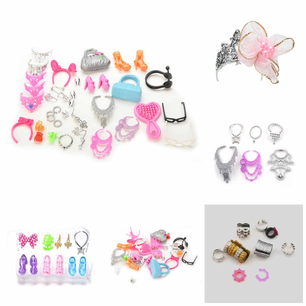 10pcs/pack Doll Decor Fashion Jewelry for girl Necklace Earring Bowknot Crown Accessory Dolls Girl Kids Gift