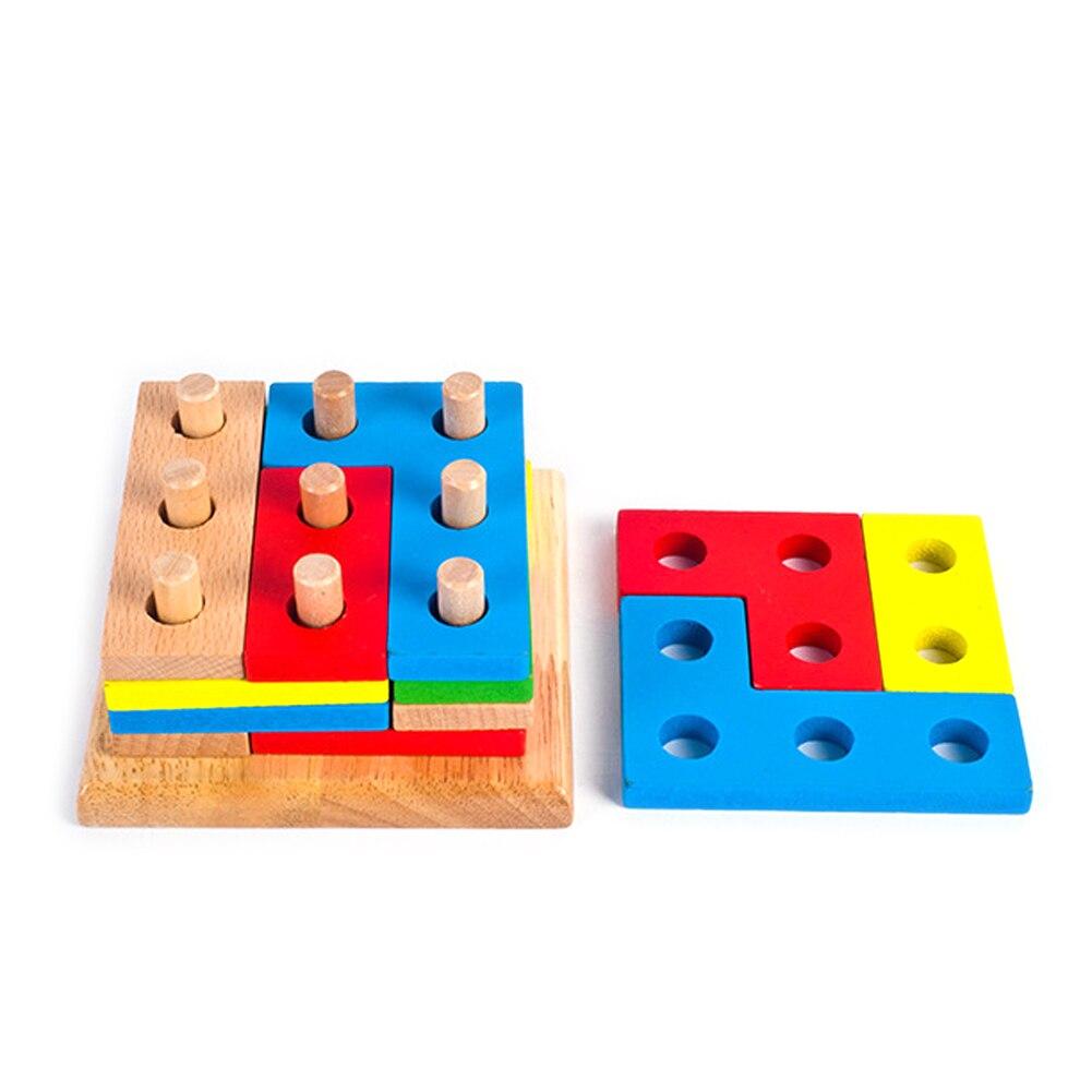 1 PC Barevné dřevěné hádanka Tabulka Geometrické Jigsaw TangramBlock Shromáždění Puzzle Vývoj hračky Baby Barva učení inteligence