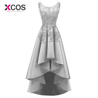 XCOS New Banquet Elegant Grey Satin Evening Dress High low Short Front Long Back Lace Appliques Formal Party Gown Custom