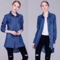 2016 Autumn Female Loose Shirts Long Sleeve Blue  tshirt For Women Turn-Down Collar Casual Top Denim tee Jeans Shirt femme