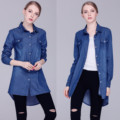 2016 Outono Fêmea Solta Camiseta Manga Longa Azul tshirt Para Mulheres Turn-Down Collar Casual Top tee Denim Jeans camisa femme