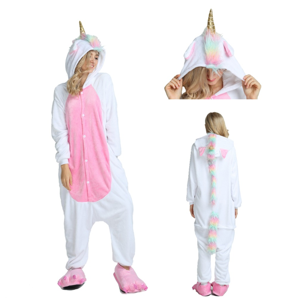 Unicorn Costume Adults Flannel Hooded Animal Pajamas Sets Cartoon Onesies Sleepwear Kigurumi Unicorn Dinosaur Panda Stitch Koala Wolf Bear Tiger