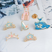 Cinderella Enamel Brooch Crystal shoe castle pumpkin carriage dress crown Denim clothes Pin Buckle Badge Jewelry Gift for Girls(China)