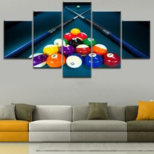 Canvas Painting Wall Art Framework Print 5 Pieces Billiard Color the Ball And Cue Pictures Decor Entertainment Club Poster
