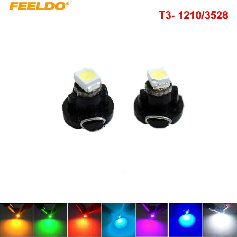 Feeldo 4 шт. DC12V T3 1210 3528 чип 1led приборной панели автомобиля метр Панель лампочка led лампочки 7- цвет # am4448