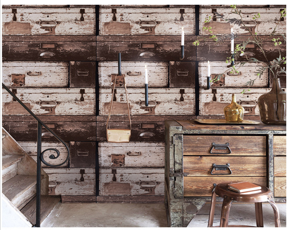 beibehang Vintage drawer box antique wood grain papel de parede wall paper clothing store industrial wind barber shop wallpaper in Wallpapers from Home Improvement