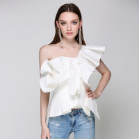 HIGH QUALITY Newest 2018 Designer Blouse Tops Women's One Shoulder Asymmetrical Ruffle Blouse Shirt