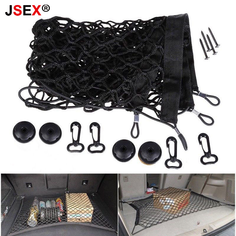 110*60cm Universal Car Auto Care Trunk Organizer Luggage Storage Bag Cargo Organiser Nylon Elastic Mesh Net With 4 Plastic Hooks