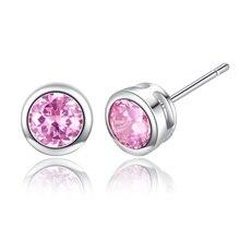 Godzgift Women Romantic Round Studs Earrings Girls Elegant Crystal Earring Gifts For Date Wedding Modern Jewelry Fashion JE5100