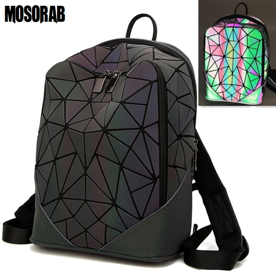 MOSORAB Women Backpack Luminous Geometric Plaid Men Backpacks For Teenage Girls Bagpack Bag Holographic Backpack School Mochila women backpack mochila geometric plaid sequin female backpacks for teenage girls bagpack drawstring bag holographic bag pack