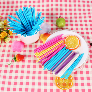 100pcs Colorful Pastry Tools 10CM Papen Cake Sticks for Lolly Lolli Candy Chocolate Sugar Cudgel Pole Handle image