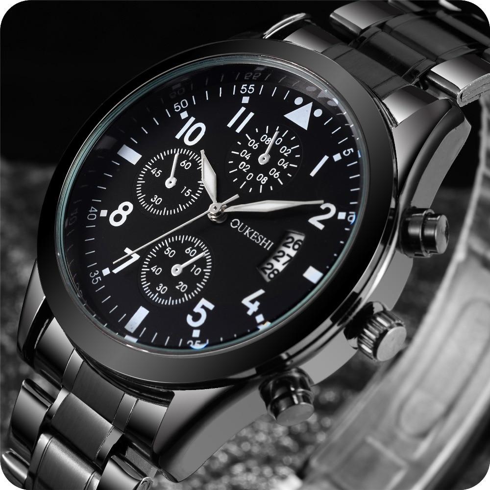 Men Calendar Sports Watches Men Quartz Wristwatches Solid Stainless Steel Watch Waterproof Wrist Watch Relogio Masculino