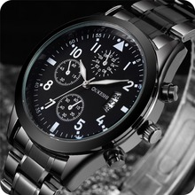 Calendario de los hombres Relojes de los Deportes de Los Hombres Relojes de pulsera de Cuarzo Reloj de Pulsera Resistente Al Agua de Acero Inoxidable Sólido Masculino Relogio Del Reloj de Hora