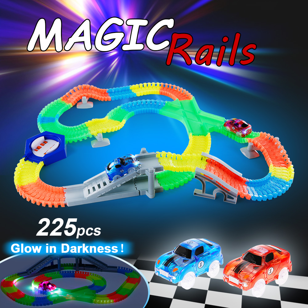 225PCS Slot Glow in the Dark Glow Race Track Create A Road Bend Flex Flexible Track with 2Pcs LED Light Up Cars Educational Toys