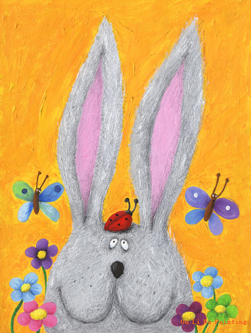 free shipping cartoon animal flower gray rabbit oil painting canvas painting prints on canvas kids room - Animal Painting For Kids