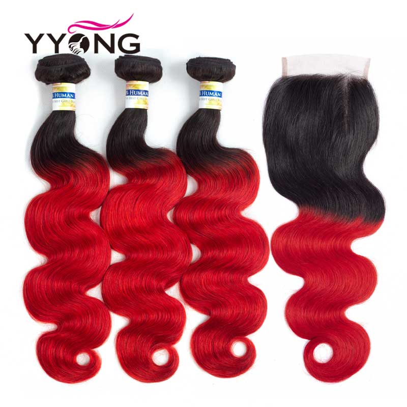 Yyong 1B Red Ombre Hair Brazilian Body Wave 3 Bundles With Closure Pre-Colored Lace Closure Non-Remy Hair Weave