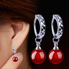 1 Pair Silver Color Hoop Earrings With Onyx Stones For Women Wedding Earings Jewelry Red Black