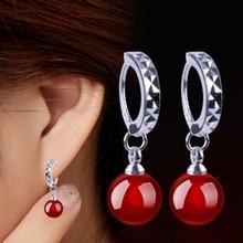 все цены на 1 Pair Silver Color Hoop Earrings With Onyx Stones For Women Wedding Earings Jewelry Red Black онлайн