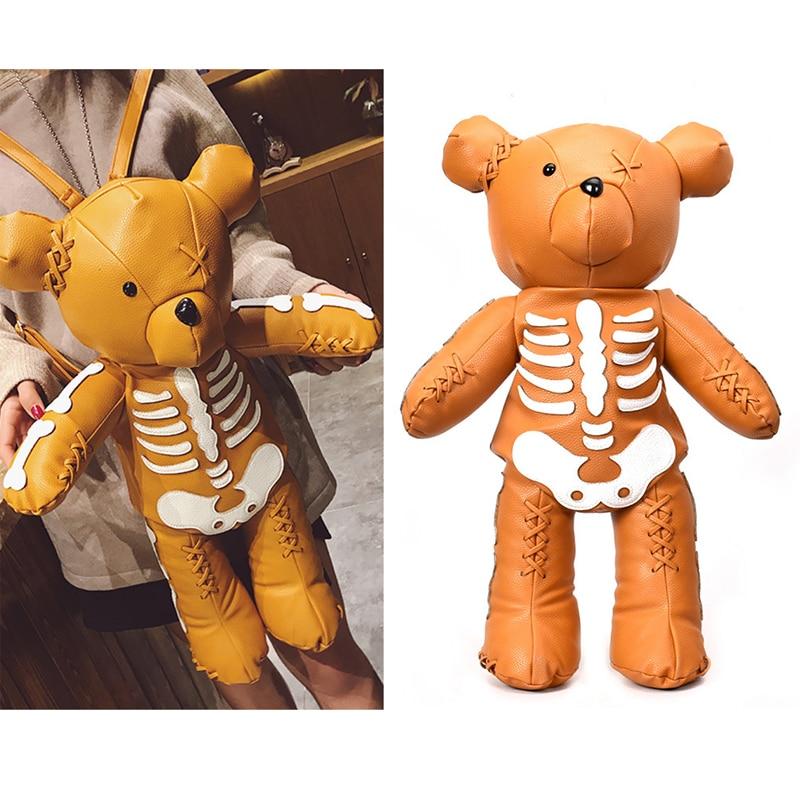Mode squelette ours sac à dos femmes Style Punk sacs d'école marque Designer dessin animé mignon sacs à dos pour les adolescentes cadeaux