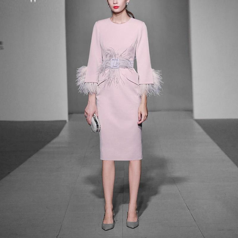 2019 Été Robes Manches Mode C Nouvelle Qualité Haute Patchwork De Femmes Crayon Style Plume Robe Ceinture Poches Printemps xqpC4n