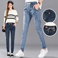 Хлопок новая мода женщины Осень зима эластичный пояс джинсы женские длинные брюки плюс размер случайные свободные шаровары Пояса брюки