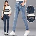 cotton new fashion women Autumn winter elastic waist jeans female long trousers plus size casual loose harem Sashes pants
