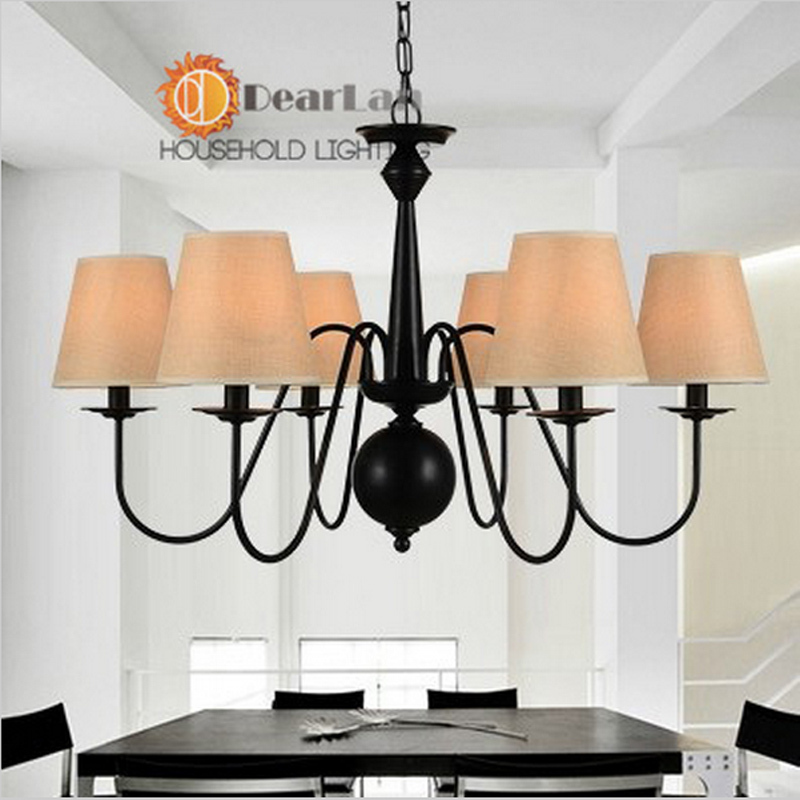 D76*H45cm Excellently Painted Vintage Pendant Lamps With 6 Arms With Fabric Shade Good Decoration Pendant Light For Living Room