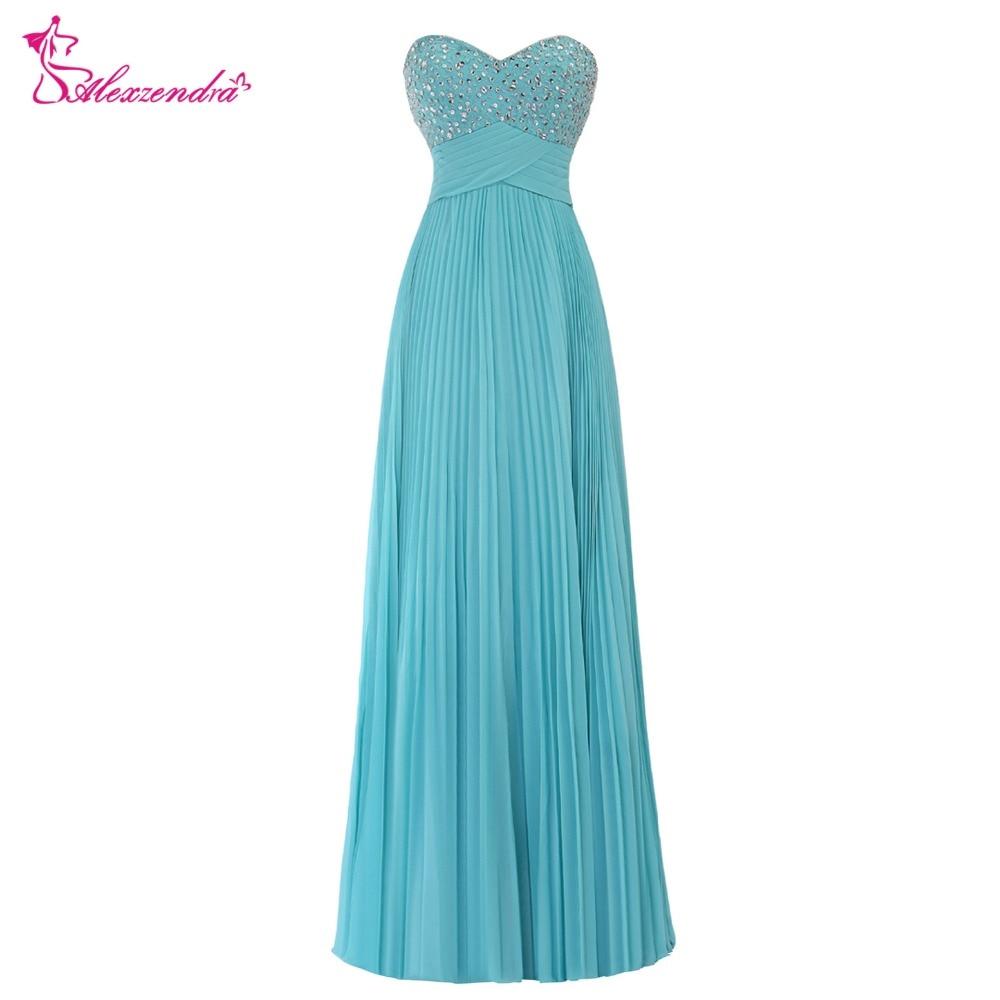 Alexzendra une ligne en mousseline de soie bleu perlé robes de bal chérie robe de bal robes de grande taille de fête