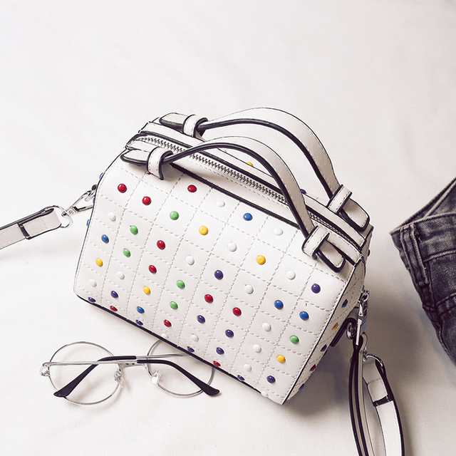2017 Summer New Boston Wave Packet Bag Women Handbag Dot Shoulder Bag  Crossbody Bags Black White