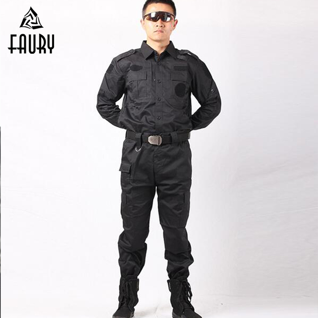 8906b43e 2018 Military Uniform Tactical Army Clothes Security Clothing Security  Guard Black Combat Uniforms CS Combat Jacket+Pants-in Military from Novelty  & Special ...