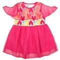 Nova embroma la ropa 2015 vestido de verano corto del tutú de alta calidad patten impreso con malla o encaje de manga niños vestido de la muchacha ropa
