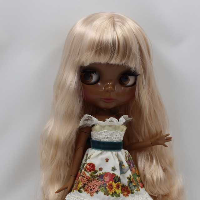 TBL Neo Blythe Doll Black Skin Dirty Blonde Hair Jointed Body