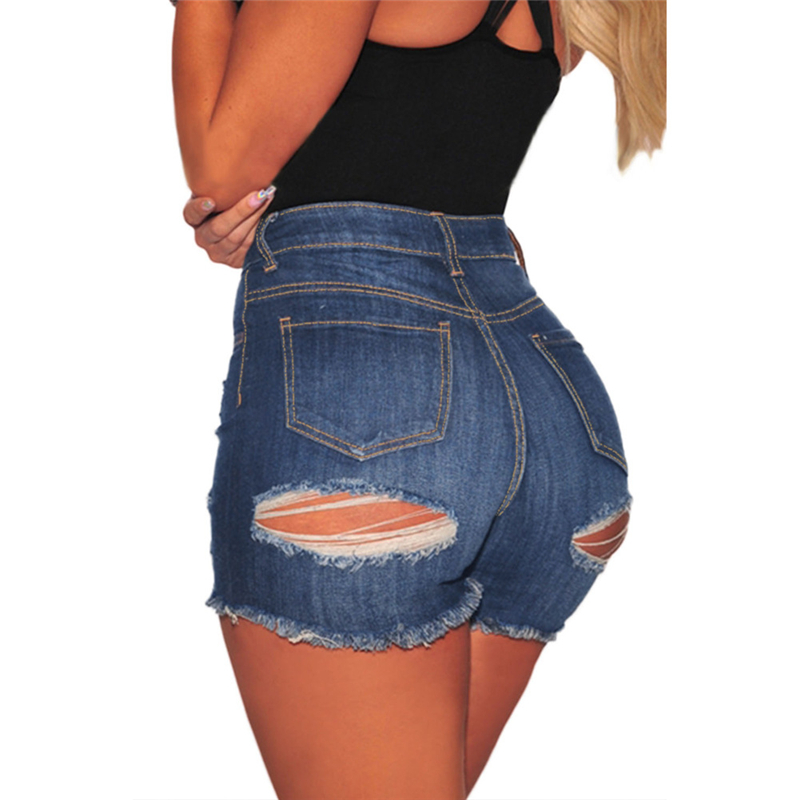 Sexy High Waisted Ripped Denim Mini Shorts For Women Hot Ladies High Rise Distressed Ultra Short Blue Jeans Shorts