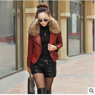 Autumn Motorcycle   Leather   Jacket New Women Genuine Racoon Dog Fur Collar   Leather   Jacket Slim Stand Collar Plus Cotton M-5XL