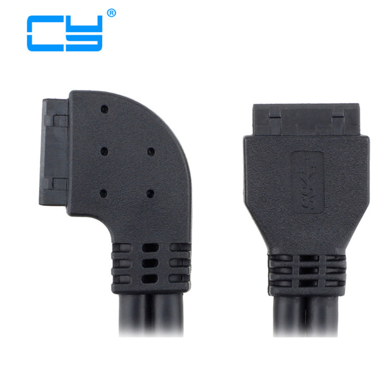 Left Angled 90 Degree USB 3.0 Motherboard 20pin 19pin Housing Male To Male Extension Cable 50cm