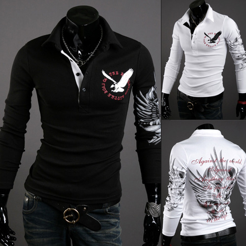 High Quality 2018 Fashion Spirng Autumn Casual Mens Clothing Long Sleeve Thermal Eagle Printing Slim Fit   Polo   Shirts XXL