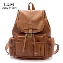 Vintage Women Backpack High Quality Leather School Bags for Teenage Girls Large Drawstring Backpacks Black Brown Rucksack XA50H