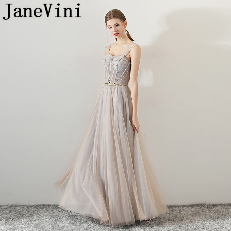 JaneVini Sexy Tulle Long   Bridesmaid     Dresses   A Line Spaghetti Straps Beads Backless Floor Length Formal   Dress   Prom Wear for Women