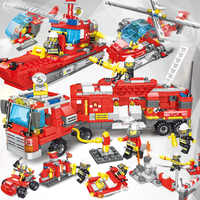 Kirs Toys 676pcs Ladder Fire Trucks Building Blocks Compatible legoing City Mini FireMan Figures Car Bricks set For Children