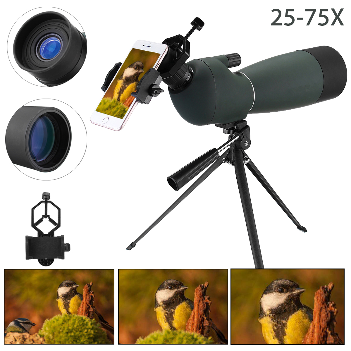 купить 25-75X70 Zoom Telescope Monocular Waterproof Shockproof Spotting Scope Binoculars with Tripod Phone Holder for Birdwatching по цене 4895.14 рублей