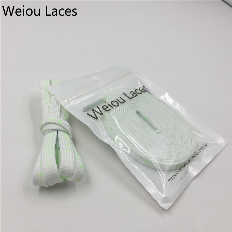 (30pairs/Lot)Weiou Premium Flat Shoe Laces For Boots Fluorescent Printing Japanese Katakana Letter Shoelaces Trendy Custom Laces
