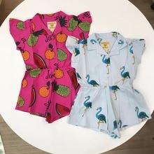 Kids Overalls  HUGO Flamingo Baby Rompers Girls Clothing Overalls Girls Dresses Vestidos Summer Striped