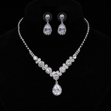 Tenacity Peiao Water Droplets Necklace Earrings Set Romantic Bride Wedding Dress Accessories Charm Wedding Bridal Jewelry Set