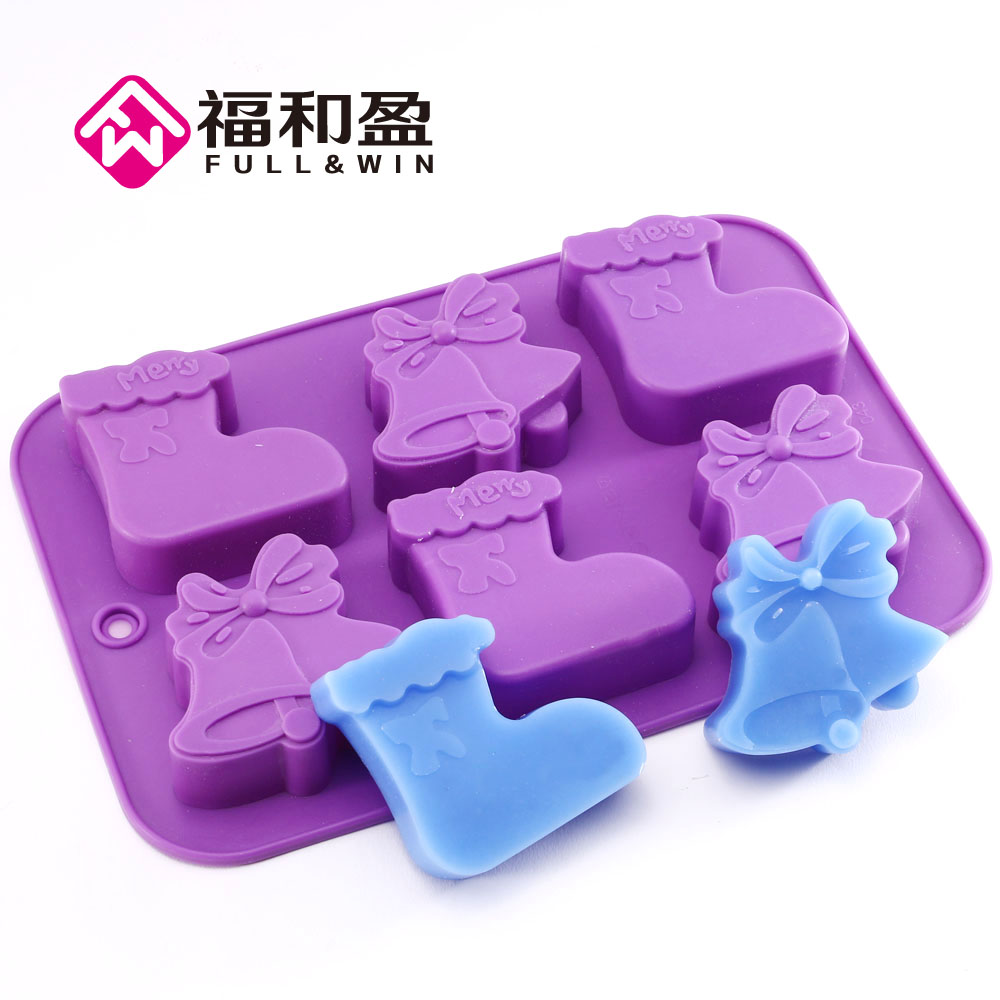 Silicone Mold 3D Chirstmas Boot Bell Soap Mold Mould Form Baking Fondant Cake Decorating Tools Design DIY Sugarcraft For Kitchen