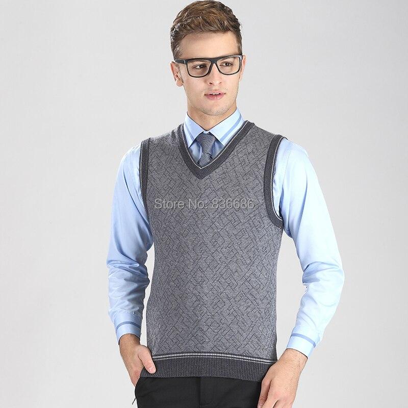 High quality autumn casual men cashmere sweater vest for Mens sleeveless denim shirt wholesale
