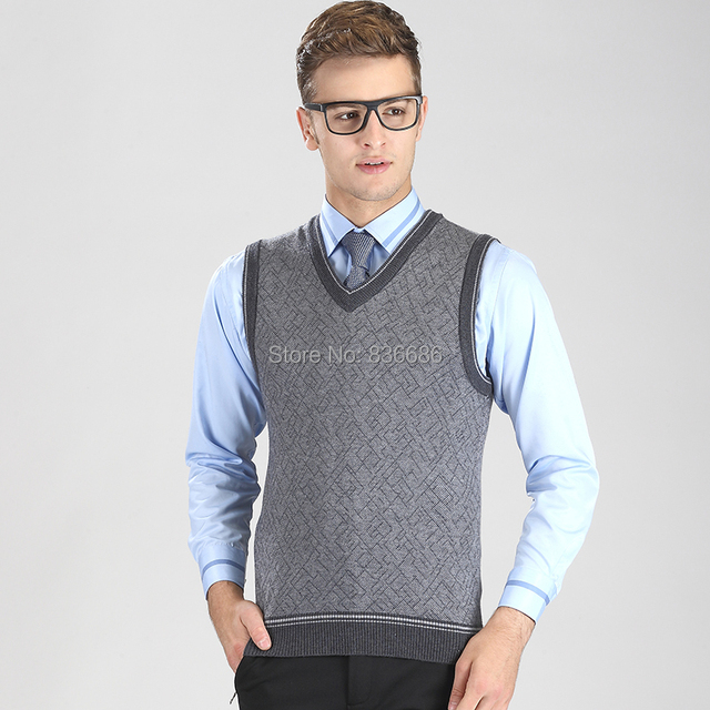 High quality autumn casual men cashmere sweater vest, fashion v ...